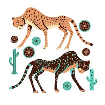 Adorable caza de guepardos con ilustración de hierba y cactus spinifex