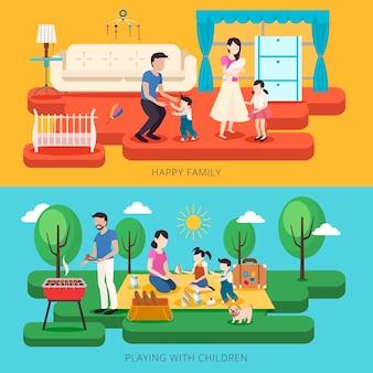 Adorable concepto de tiempo en familia feliz en estilo plano