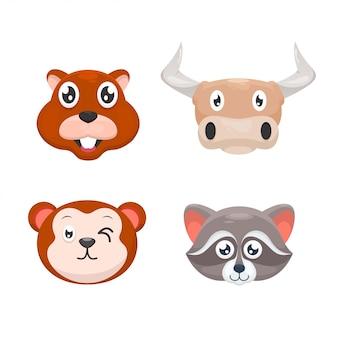 Adorable conjunto de dibujos animados de animales cabeza