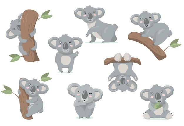 Adorable conjunto plano de bebé koala. ilustración de dibujos animados