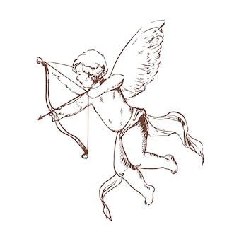 Adorable cupido con arco apuntando o disparando flechas dibujadas a mano con líneas de contorno
