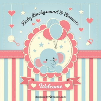 Adorable fondo de bienvenida de bebé con un elefante