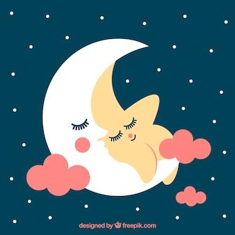Adorable fondo de estrella descansando con la luna