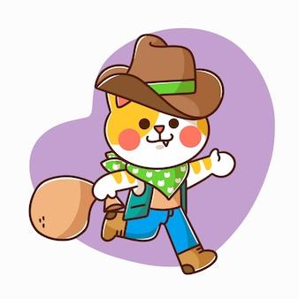 Adorable gatito jugando con carácter vaquero ilustración doodle activo