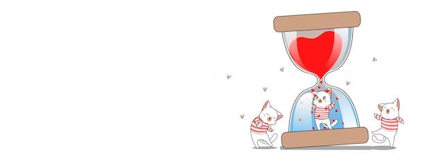 Adorable gato y banner de ilustración de reloj de arena