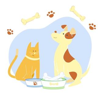 Adorable gato y cachorro