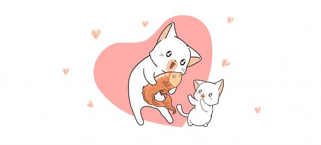 Adorable gato está dando pescado al gato bebé