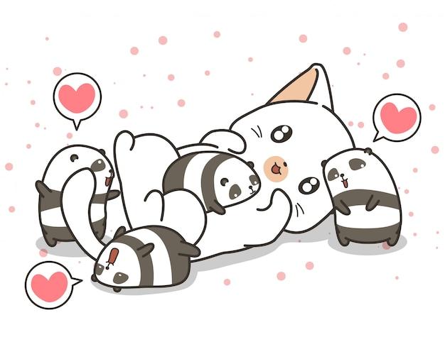Adorable gato y pequeños personajes de panda