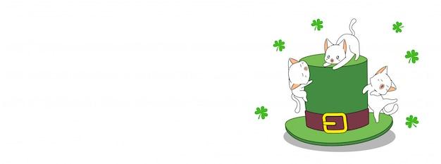 Adorable gato con sombrero en banner del día de san patricio