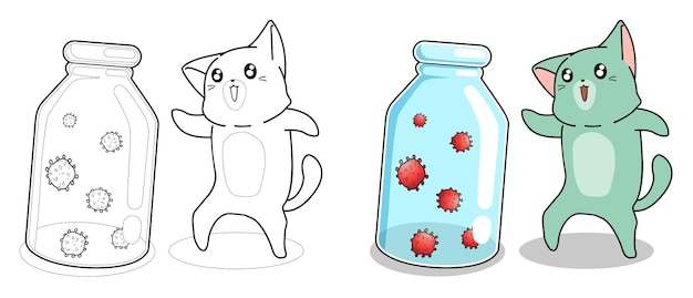Adorable gato y virus página para colorear de dibujos animados para niños