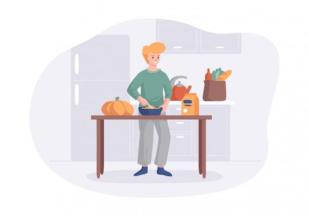 Adorable hombre cocinando en la mesa de la cocina. personaje masculino de dibujos animados haciendo el almuerzo o la cena.