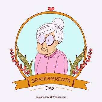 Adorable ilustración de abuelita dibujada a mano