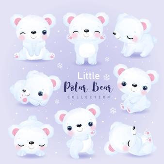 Adorable ilustración de oso polar en acuarela para decoración de viveros