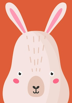 Adorable ilustración de vector plano de hocico de liebre. fondo colorido de la historieta linda del hocico del conejito del bosque de la fauna. cierre de cabeza de conejo salvaje, telón de fondo decorativo de cara. idea de diseño de tarjeta de zoológico infantil.