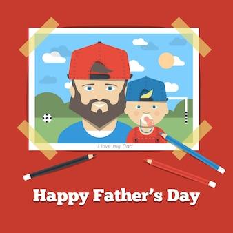 Adorable imagen con padre e hijo