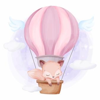 Adorable lindo animal fox globo de aire caliente