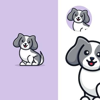 Adorable lindo perro sentado plantilla de logotipo de dibujos animados
