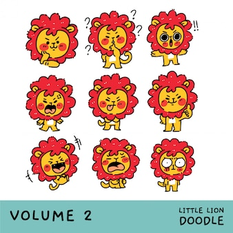 Adorable little lion cub character mascot set vol. 2)