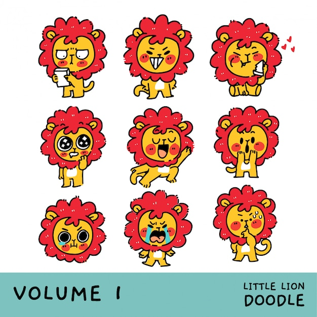 Adorable little lion cub character mascot set