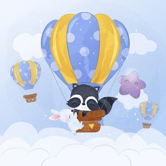 Adorable mapache volando con globo aerostático en acuarela ilustración