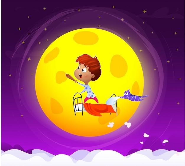 Adorable niño dormido ilustración vectorial