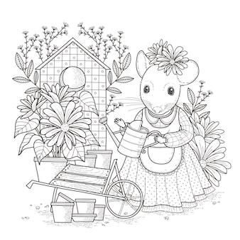 Adorable página para colorear de ratón en un estilo exquisito