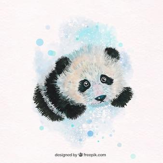 Adorable panda de acuarela