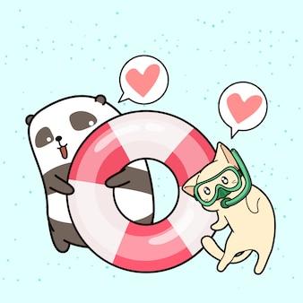 Adorable panda y gato en vacaciones