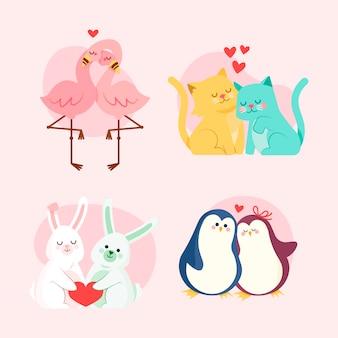 Adorable paquete de pareja de animales de san valentín