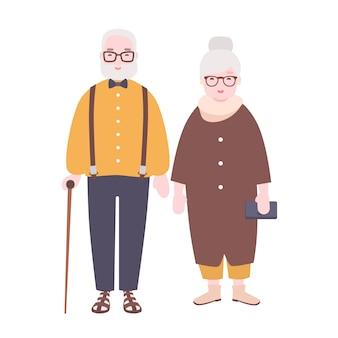 Adorable pareja de ancianos casados. viejo hombre y mujer vestidos con ropa elegante de pie juntos.