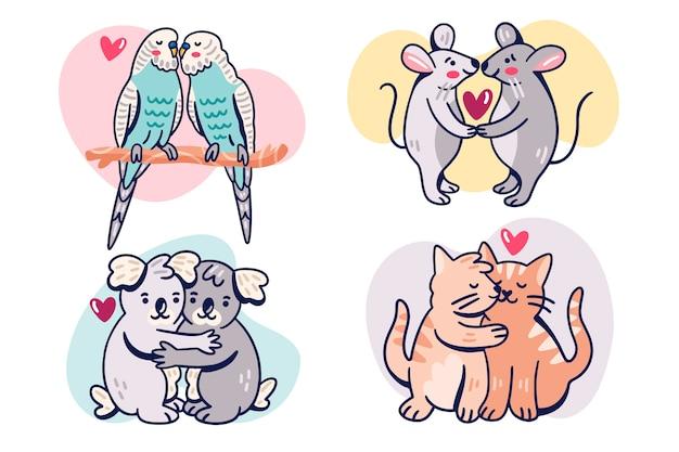 Adorable pareja de animales del día de san valentín