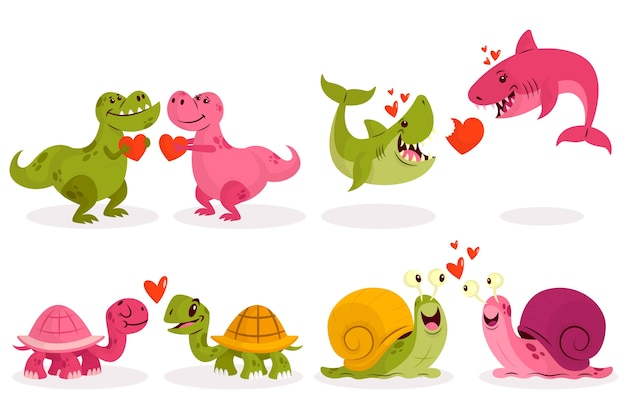 Adorable pareja de animales de san valentín