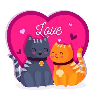 Adorable pareja de gatos de san valentín