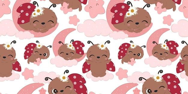 Adorable patrón de mariquita para papel tapiz de tela para niños y muchos más