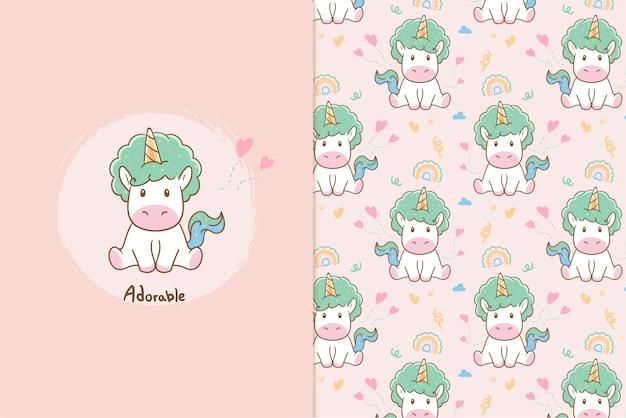Adorable patrón de unicornio