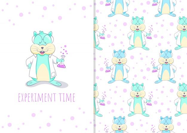 Adorable pequeño personaje de dibujos animados de hámster con fluidos químicos, patrones sin fisuras e ilustración