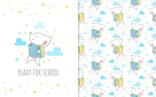 Adorable pequeño personaje de dibujos animados de ratón con bolsa, ilustración y patrones sin fisuras