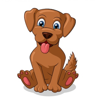 Adorable perro sentado de dibujos animados