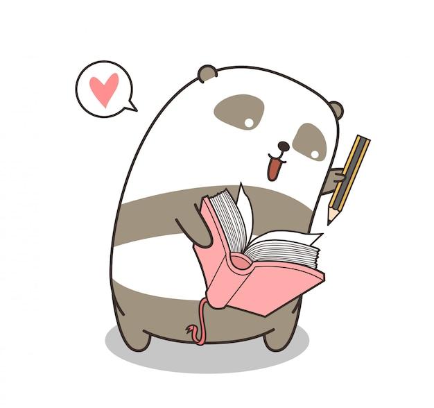Adorable personaje de panda está escribiendo