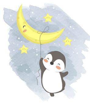 Adorable pingüino bebé colgando con la luna