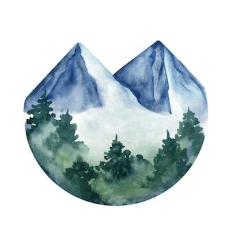 Adorable pintado a mano acuarela montaña y árboles clip art en círculo
