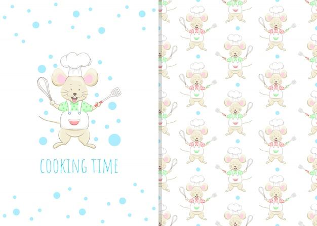 Adorable ratoncito personaje de dibujos animados, ilustración y patrones sin fisuras