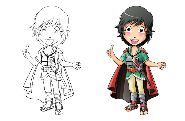Adorable samurai página para colorear de dibujos animados para niños