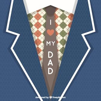 Adorable tarjeta del día del padre con traje