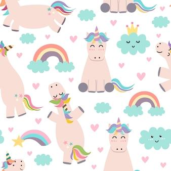 Adorable unicornio, arco iris y nubes de patrones sin fisuras