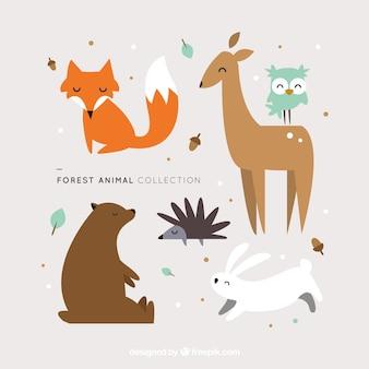 Adorables animales del bosque en diseño plano