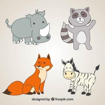 Adorables animales salvajes dibujados a mano