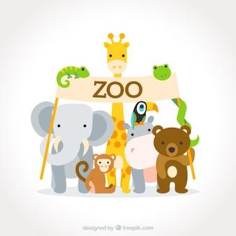 Adorables animales salvajes planos con un cartel de zoo