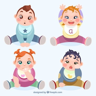 Adorables bebés dibujados a mano esperando para comer