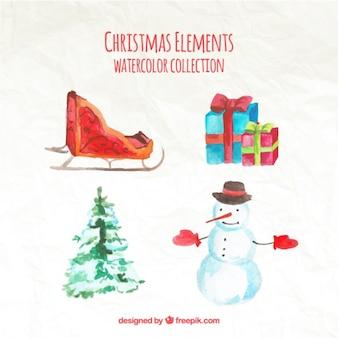 Adorables elementos típicos de navidad de acuarela